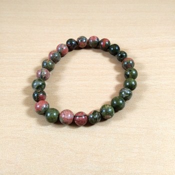Unakite Gem Bead Bracelet Size 8MMfor men & woment Chakra  Bracelet
