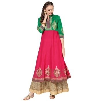 Women's Pink & Green Cotton Block Prints Long Anarkali kurti
