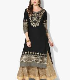 Women's Black Cotton Block Prints Long Straight kurti