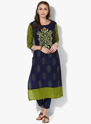 Women's Blue Cotton Embroidery Long Straight kurti