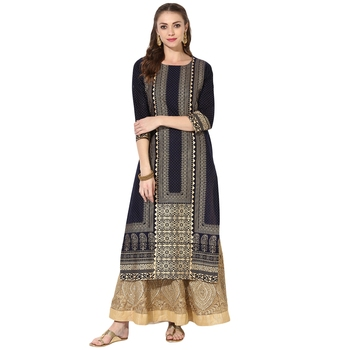 Women's Blue Cotton Block Prints Long Straight kurti