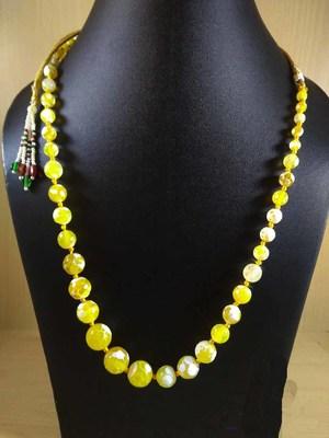 Yellow Onyx Mala Necklace Boho Beaded Necklace Faceted Onyx Necklace Fancy Necklace