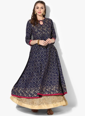 Women's Blue Cotton Block Prints Long Anarkali kurti