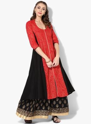 Women's Multicolor Cotton Block Prints Long Anarkali kurti
