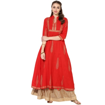 Women's Red Cotton Block Prints Long Anarkali kurti