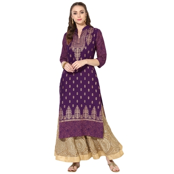 Women's Purple Cotton Block Prints Long Straight kurti