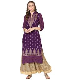 Women's Purple Cotton Block Prints Long Straight kurti