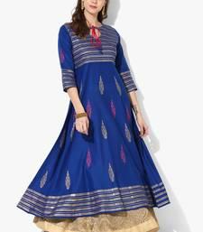 Women's Blue Cotton Block Prints Long Anarkali kurti