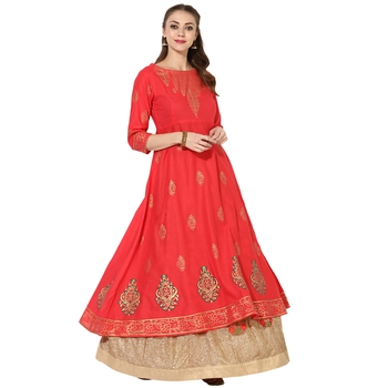 Women's Red Cotton Block Prints Long Anarkali kurti