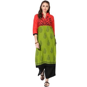 Women's Multicolor Cotton Block Prints Long Straight kurti