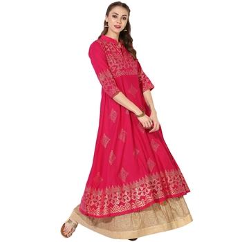 Women's Pink Cotton Block Prints Long Anarkali kurti