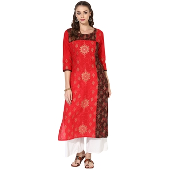 Women's Multicolor Cotton Block Prints Long Straight kurti