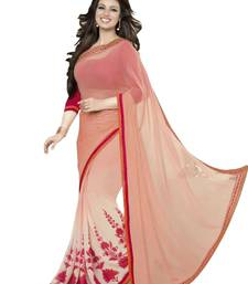 Buy Cream printed georgette saree with blouse ayesha-takia-saree online