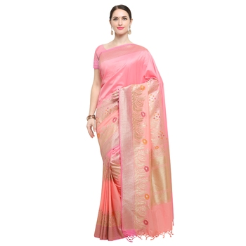 Peach woven katan silk saree with blouse