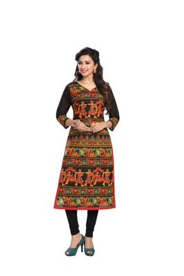 Multicolor printed cotton-kurtis