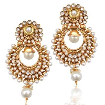 Pearl polki glowing kundan white dangler earring HSEAZ002WH