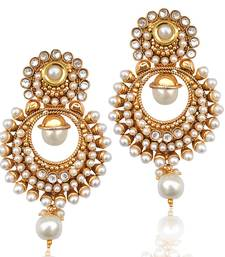 Buy Pearl polki glowing kundan white dangler earring HSEAZ002WH danglers-drop online