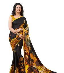 Buy Digital crepe jacquard Mustrad with Black Designer Sarees. jacquard-saree online