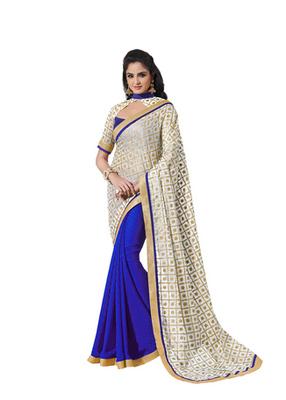 Kora Silk With Gold Foil Print Blue Designer Sarees