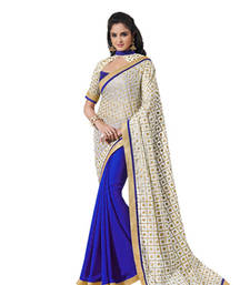 Buy Kora Silk With Gold Foil Print Blue Designer Sarees half-saree online