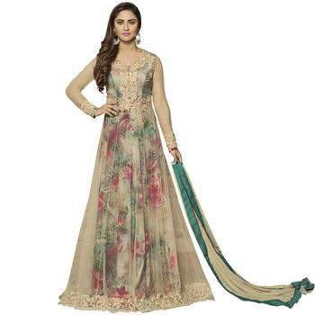 Multicolor embroidered net Anarkali Suit