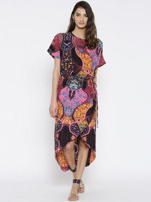 THE KAFTAN COMPANY WOMEN MULTICOLOURED PRINTED WRAP DRESS