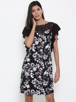 RETRO BLACK FLORAL KAFTAN DRESS