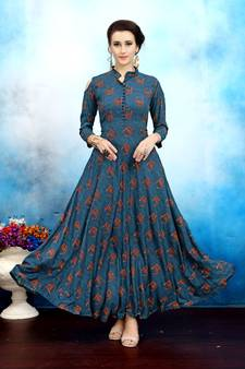 5fede1e513c Progress 4cc28d84d76fcb9210fe43f7ac15eb975cd0845b972ae4a79b1d0ad72de0bd8e.  Blue printed rayon long-kurtis. Shop Now