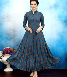 Blue printed rayon long kurtis