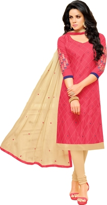 Pink & Cream Cotton Embroidered & Mirror Work Salwar Suit For Women
