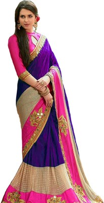 Purple embroidered lycra saree with blouse
