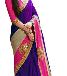 Buy Purple embroidered lycra saree with blouse bollywood-saree online