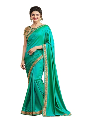 Aqua blue embroidered silk  saree with blouse