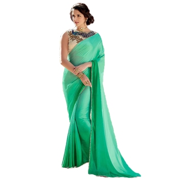 Green plain silk  saree with blouse