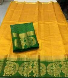 Buy Yellow printed tussar silk saree with blouse below-1500 online