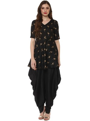Black printed dupion silk kurtas-and-kurtis