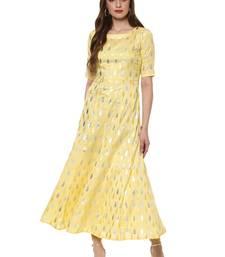 Yellow printed dupion silk kurtas-and-kurtis