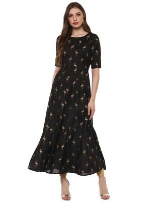 Black printed dupion silk kurtas-and-kurtis