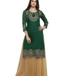 Green printed dupion silk kurtas-and-kurtis