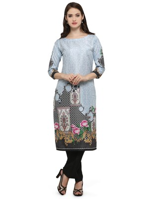 Multicolor printed dupion silk kurtas-and-kurtis