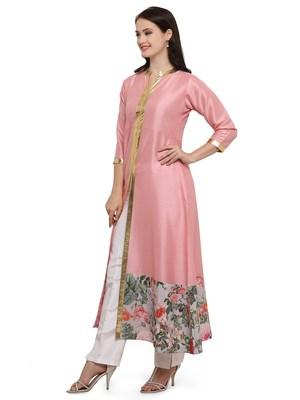 Pink printed dupion silk kurtas-and-kurtis