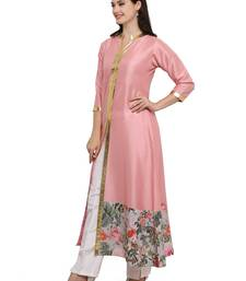 Pink printed dupion silk kurtas-and-kurtis