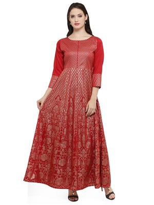 Maroon printed dupion silk kurtas-and-kurtis