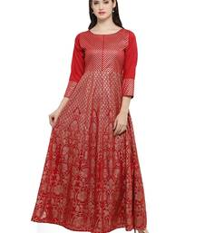 Buy Maroon printed dupion silk kurtas-and-kurtis kurtas-and-kurtis online