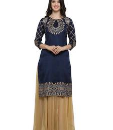 Blue printed dupion silk kurtas-and-kurtis