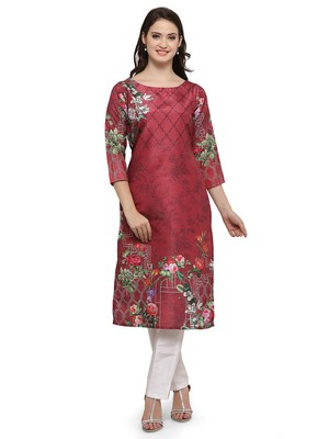 Red printed dupion silk kurtas-and-kurtis