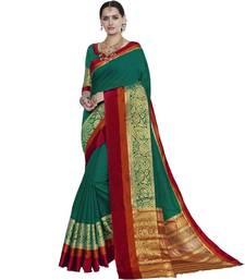 Buy Green woven cotton silk saree with blouse handloom-saree online