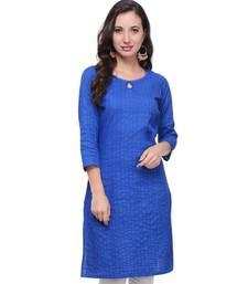 Royal Blue Plain Cotton Stitched Kurti