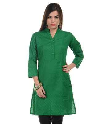 Green Plain Cotton Stitched Kurti