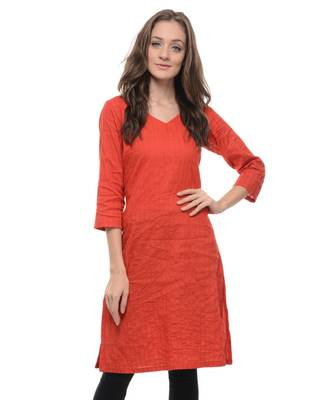 Red plain cotton stitched kurti